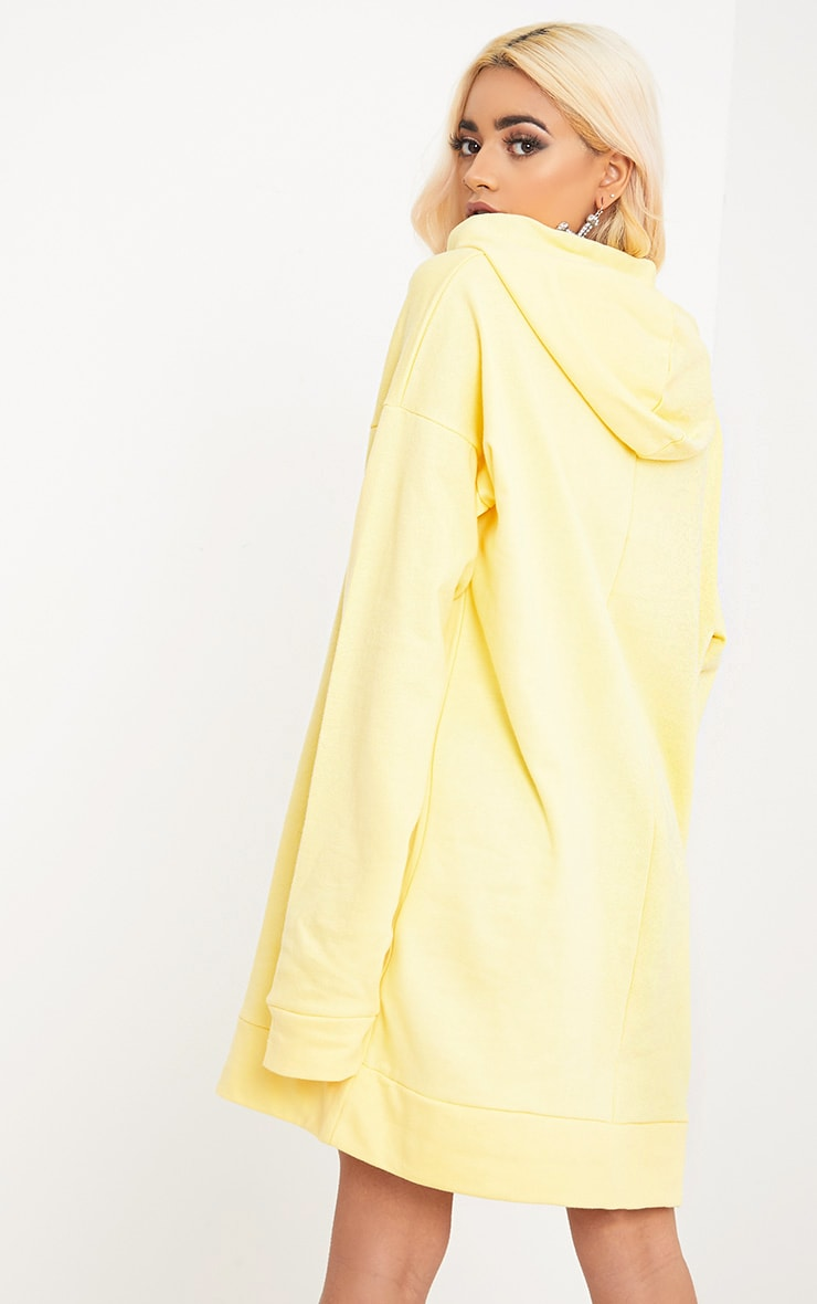 Anuliar Yellow Hooded Jumper Dress with Contrast Ties 2