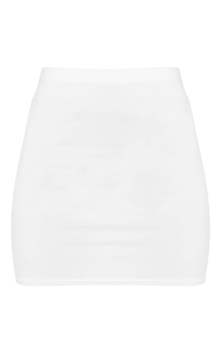 Cream Basic Jersey Mini Skirt 6