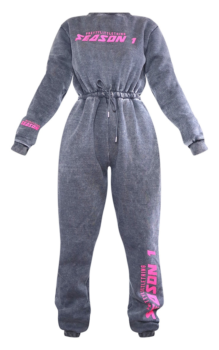 PRETTYLITTLETHING Charcoal Season Printed Sweat Jumpsuit 5