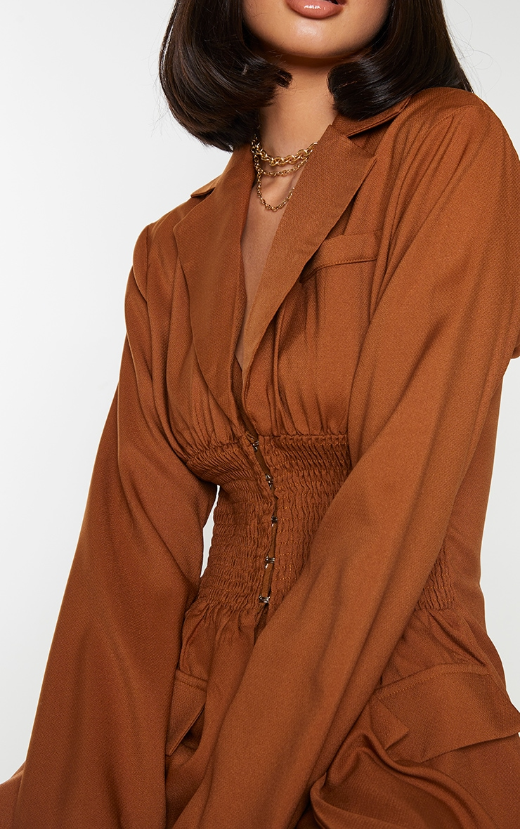 Tan Shirred Waist Hook & Eye Longline Blazer 4