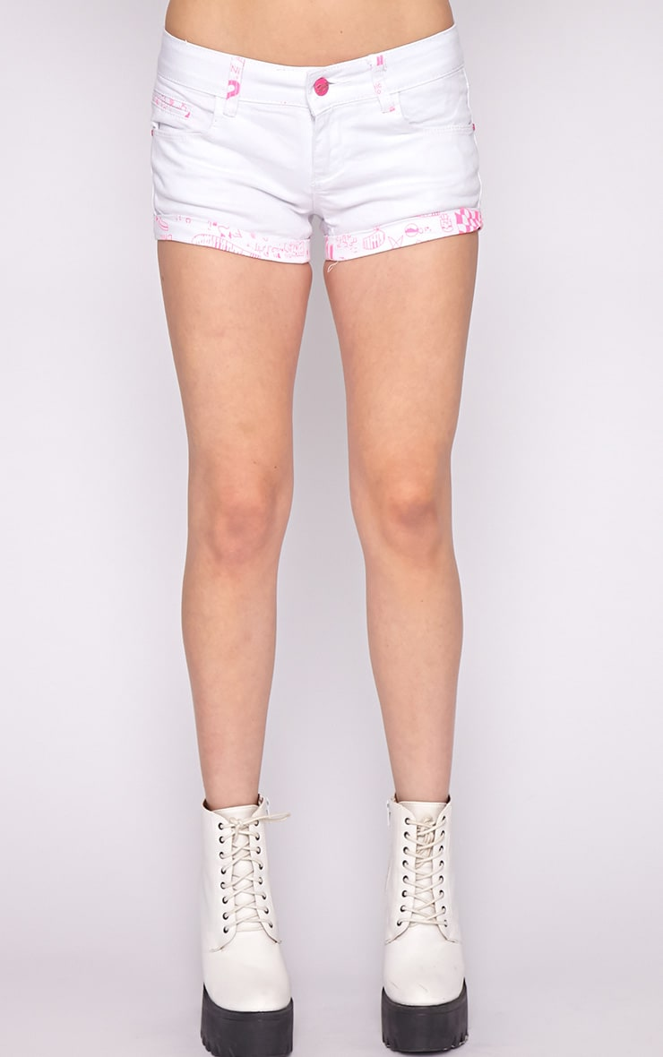 Hollie Pink Trim Denim White Hotpant 4
