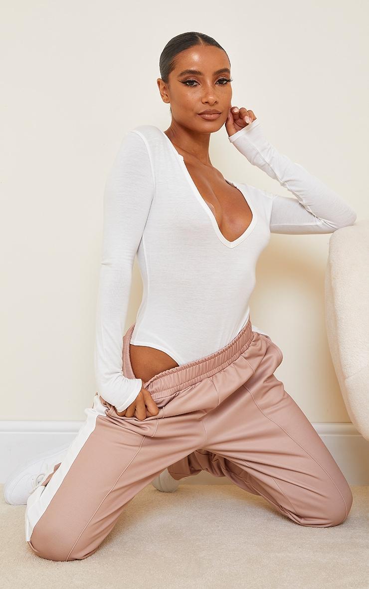 Cream Basic Plunge Long Sleeve Bodysuit 3