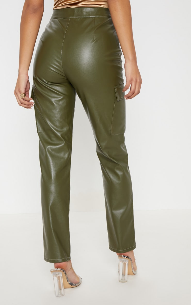 Khaki Faux Leather Cargo Pocket Straight Leg Pants  4