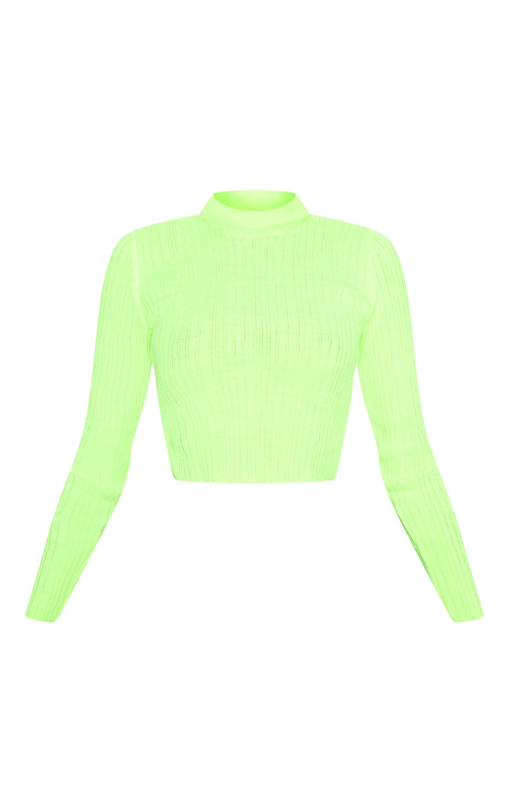 Neon Lime High Neck Knitted Rib Top 3