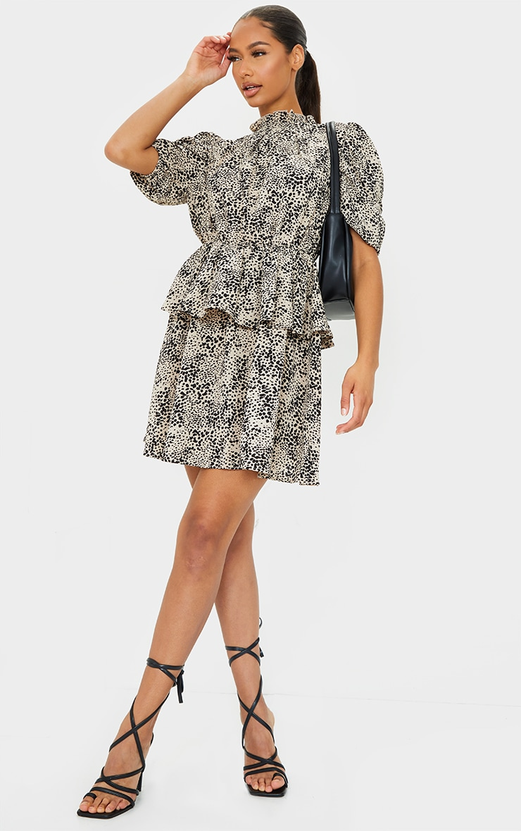Stone Dalmatian Frill Neck Puff Sleeve Skater Dress 1