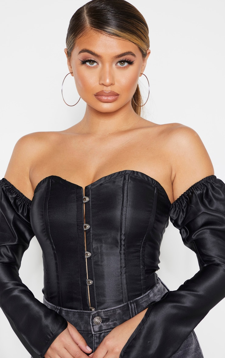Black Satin Long Sleeve Bardot Corset Top 4