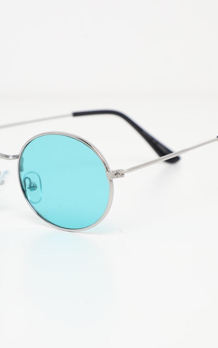 Green Lens Metal Frame Oval Retro Sunglasses 3
