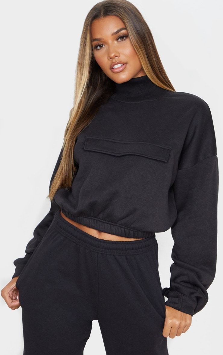 Black Funnel Neck Pocket Front Sweater 1