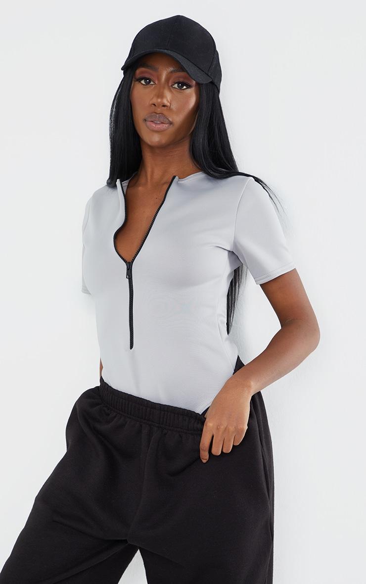 Light Grey Bonded Scuba Zip Up Short Sleeve Bodysuit 1