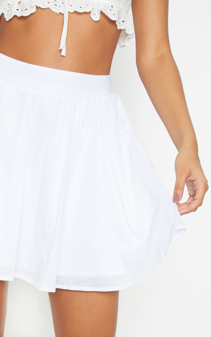 White Woven Full Skater Skirt  5