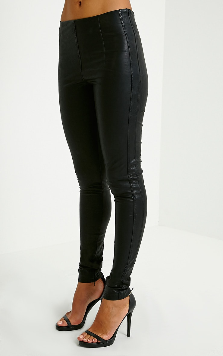 Lahra Black Faux Leather Trousers 3