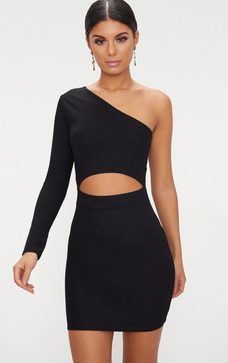 Black Asymmetric Cut Out Detail Bodycon Dress 1