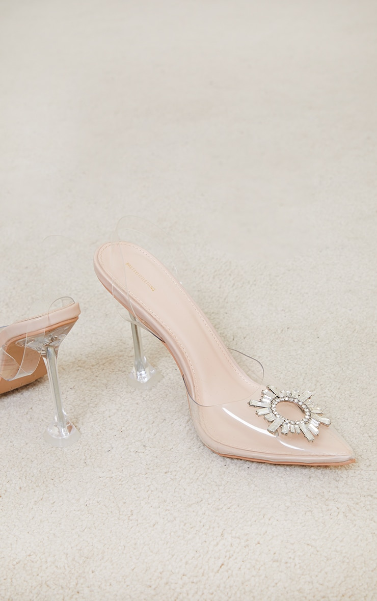 Nude Clear Diamante Sling Back Cake Stand High Heels 4