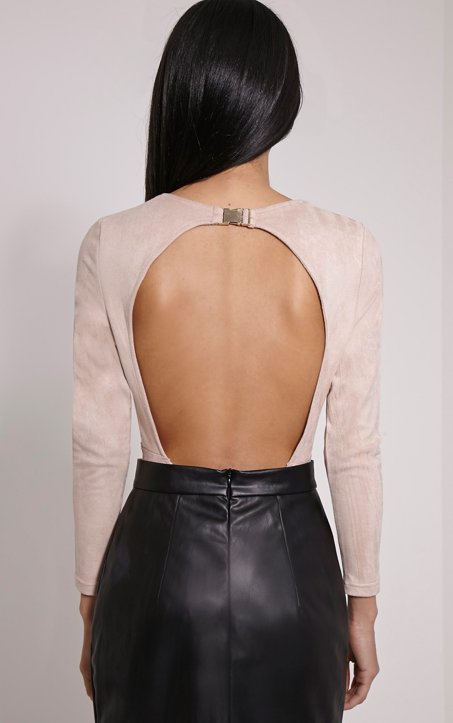 Rayna Beige Faux Suede Backless Buckle Bodysuit 2