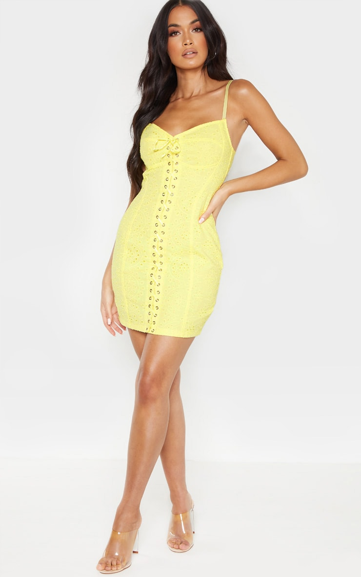 Yellow Broiderie Anglaise Lace Up Bodycon Dress 4
