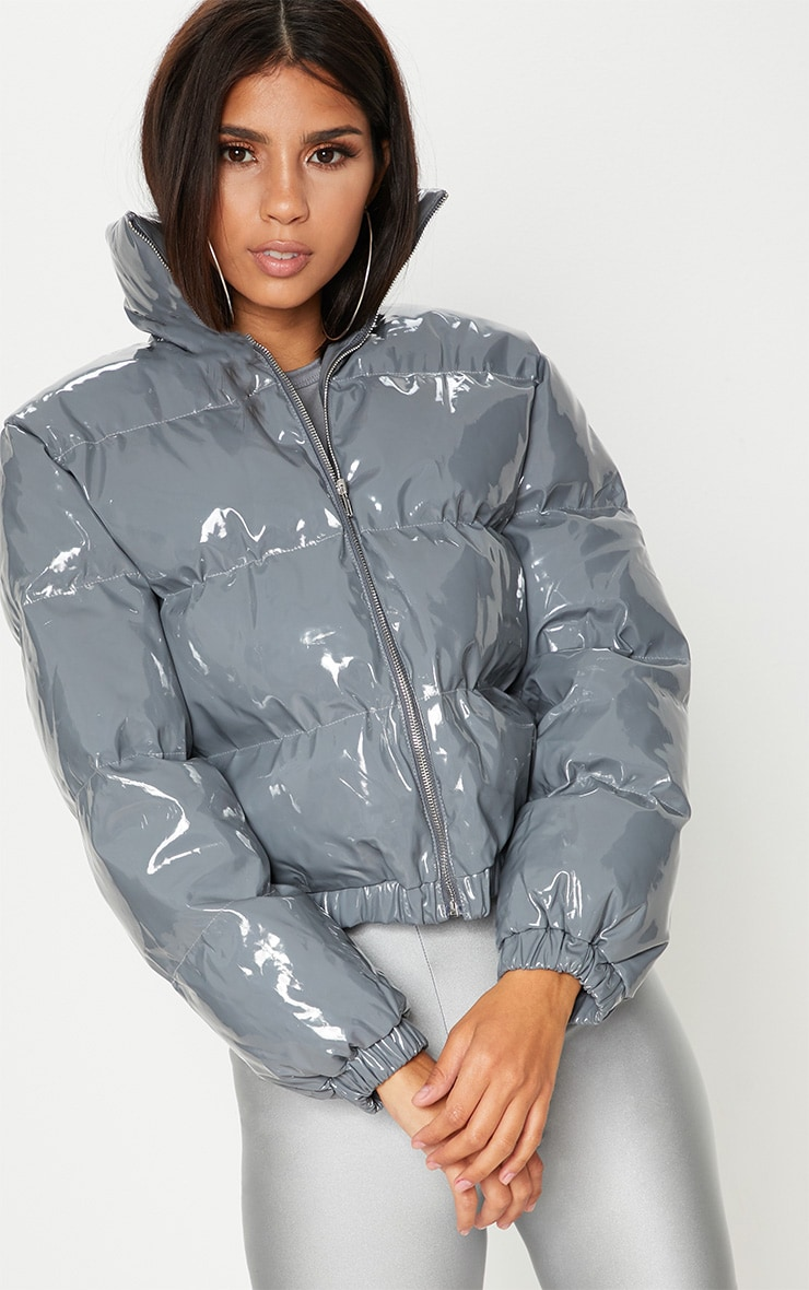 Dark Grey Vinyl Puffer Coat
