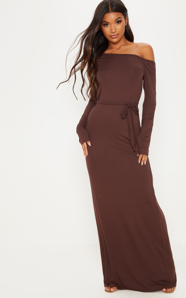 Chocolate Off The Shoulder Tie Waist Maxi Dress
