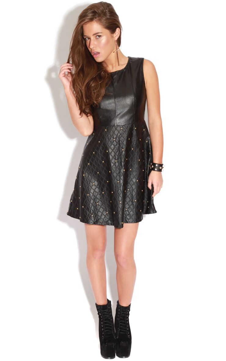 Naomi PU Studded Skater Dress 3
