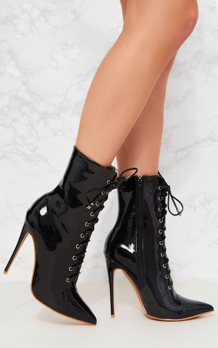 Black Vinyl Lace Up Heeled Boot 1
