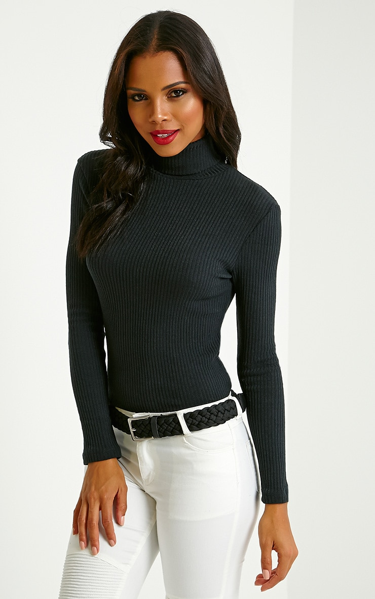 Rica Black Ribbed Roll Neck Top 4