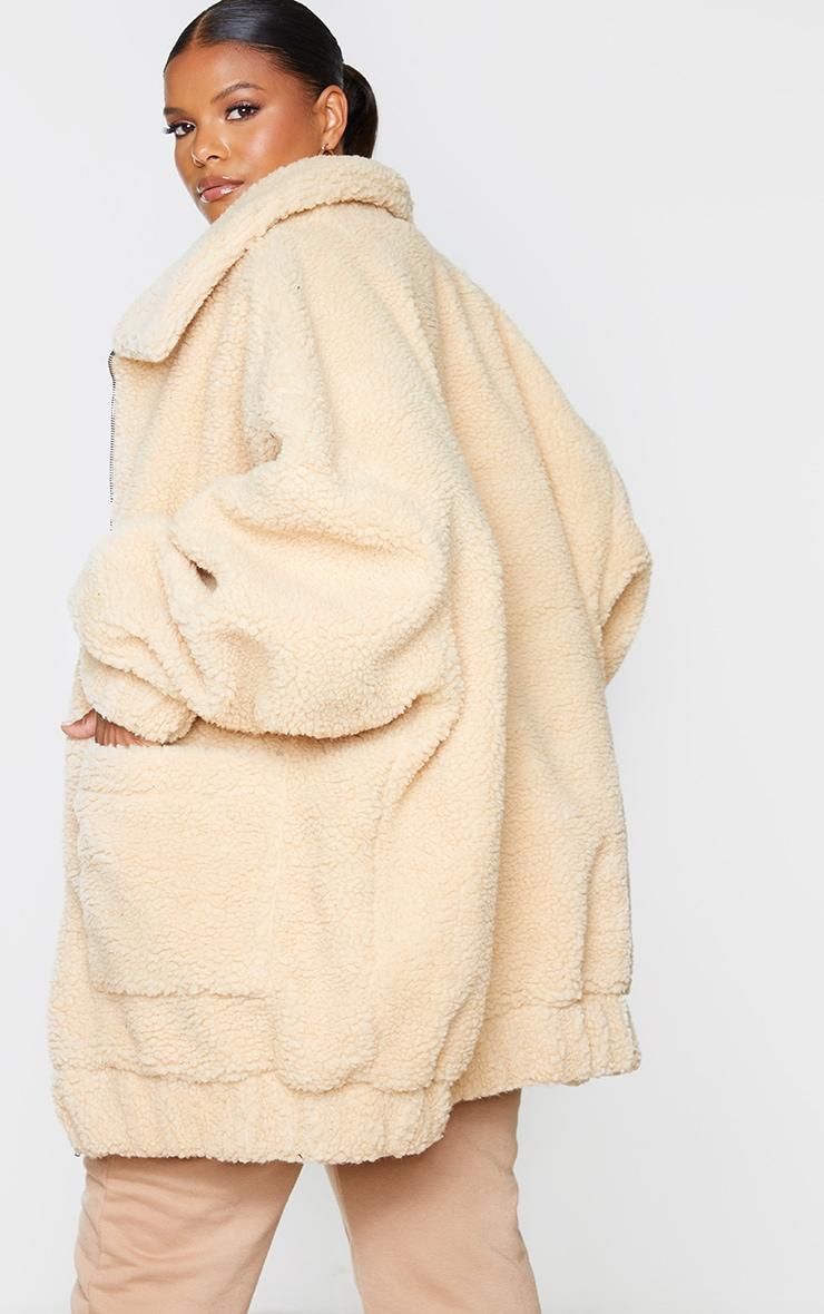 Plus Camel Oversized Borg Pocket Front Coat 2