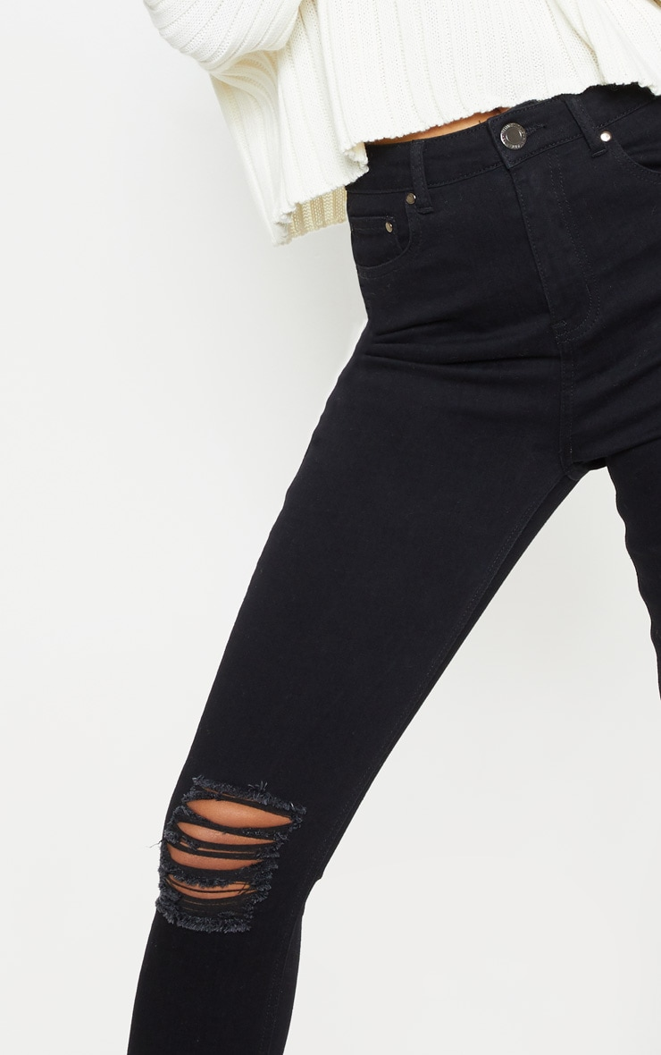 Black Knee Rip 5 Pocket Skinny Jean  5
