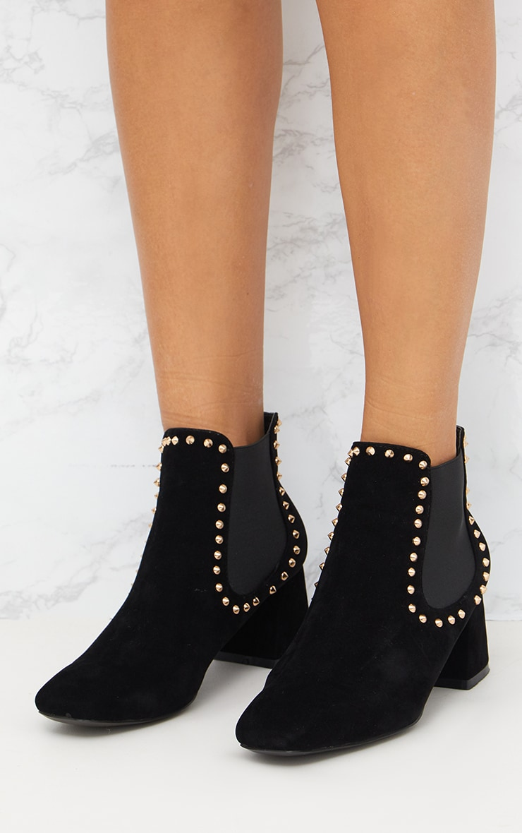 Black Studded Block Heeled Ankle Boots 2