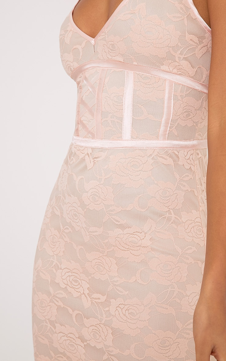 Sasha Blush Corset Detail Strappy Lace Bodycon Dress 5