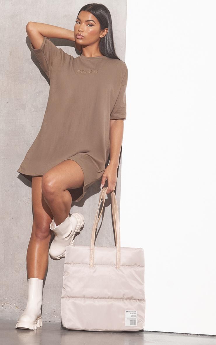 RENEW PRETTYLITTLETHING Light Chocolate Oversized Boyfriend T Shirt Dress 3