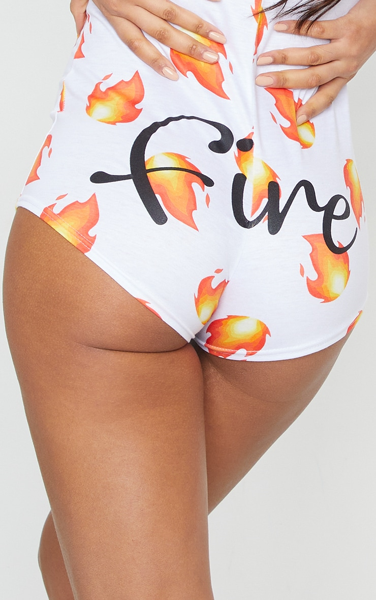 White Fire Printed PJ Romper 4