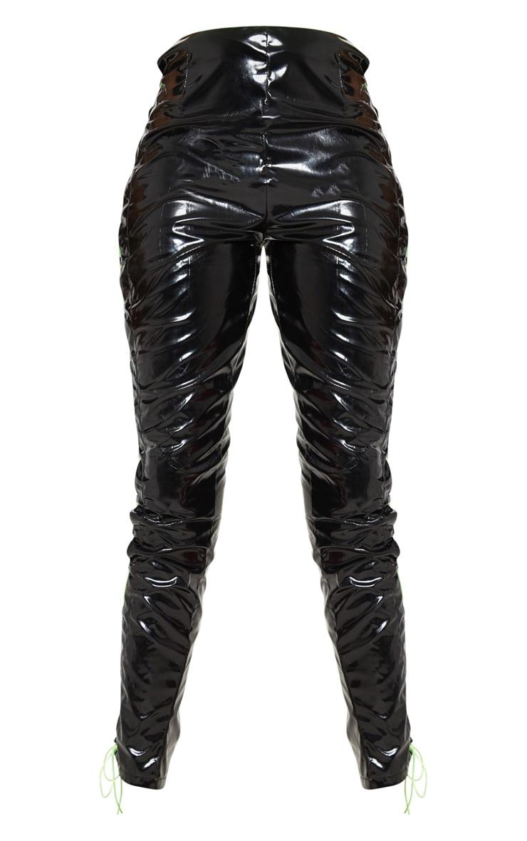Black Vinyl Lace Up Detail Skinny Pants 3