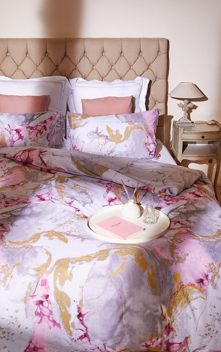 Pink with Gold Marble Print Double Duvet Set 1