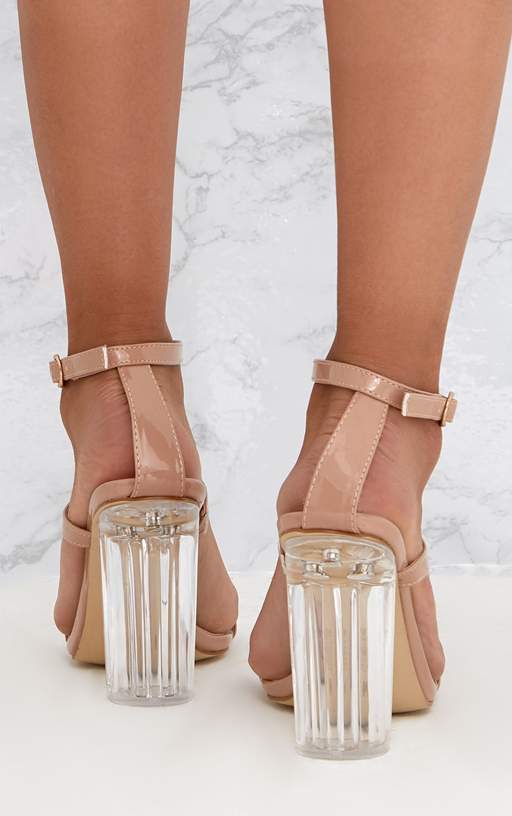 Nude Clear Heel Caged Sandals Shoes Prettylittlething