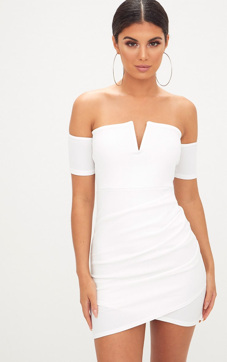White Bardot Wrap Front Bodycon Dress 1