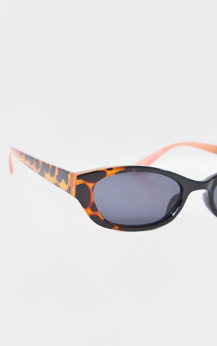 Jeepers Peepers Black With Leopard Slimline Sunglasses 3
