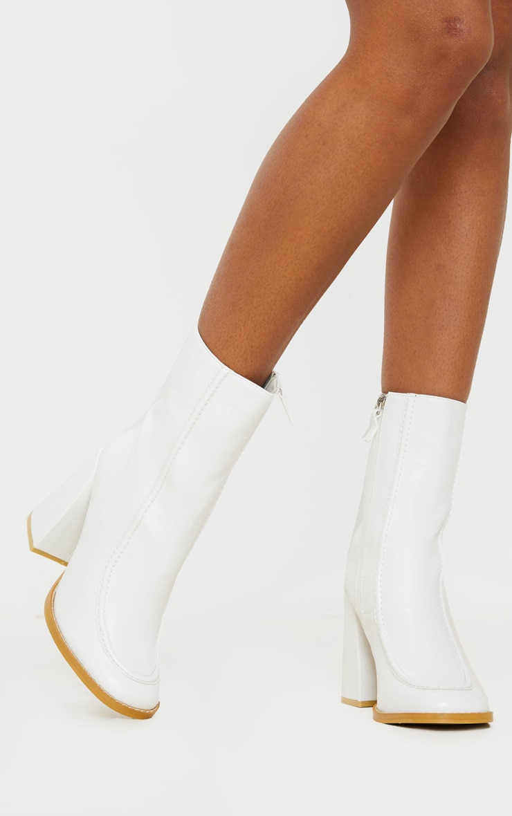 White Curved Toe Block Heel Ankle Boot 2