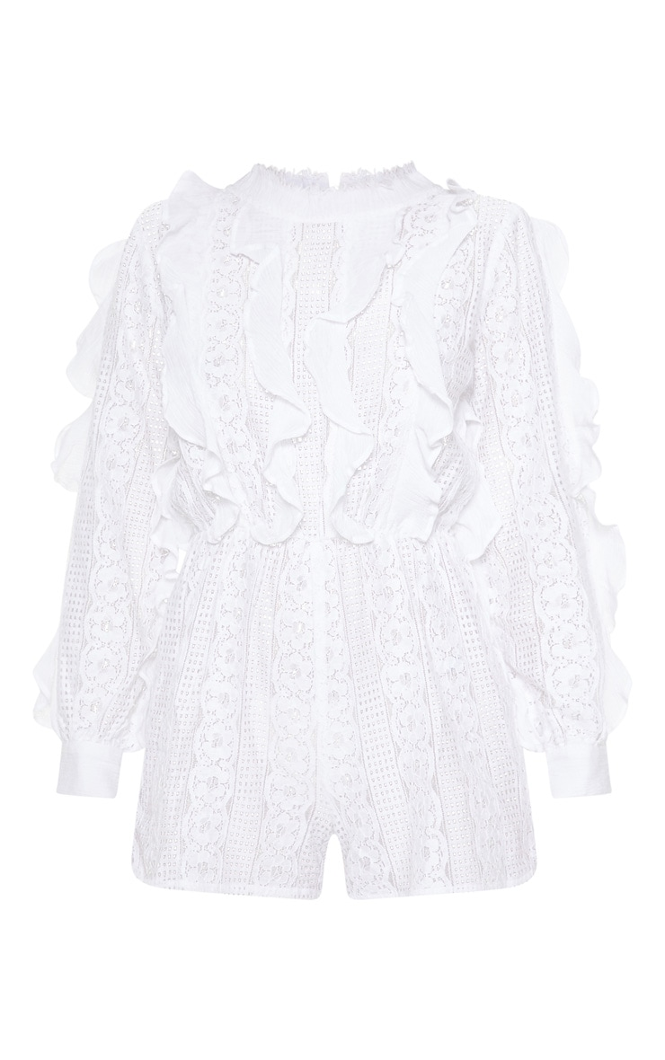 White Lace Frill Detail Long Sleeve Playsuit 3