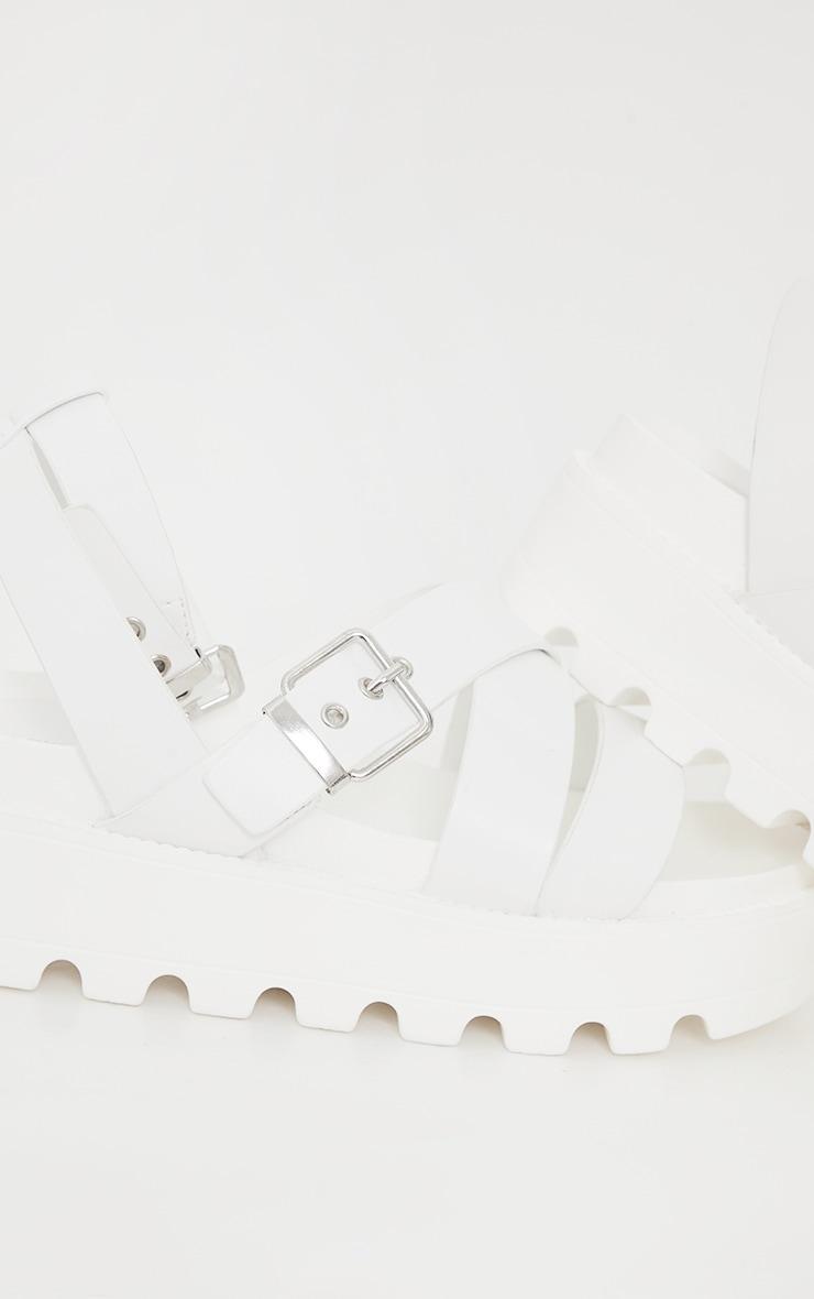 White Cleated Flatform Gladiator Sandals 3