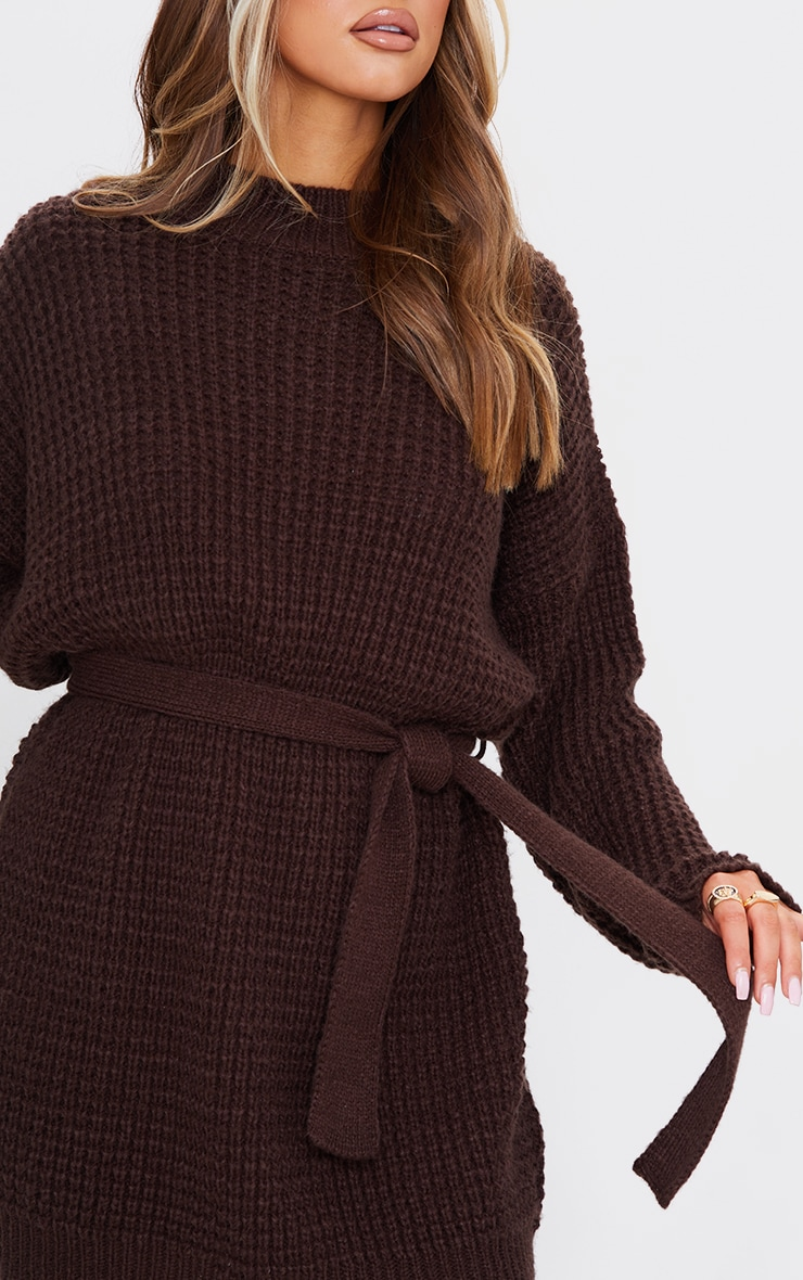 Chocolate Soft Touch Belted Knitted Jumper Dress 4