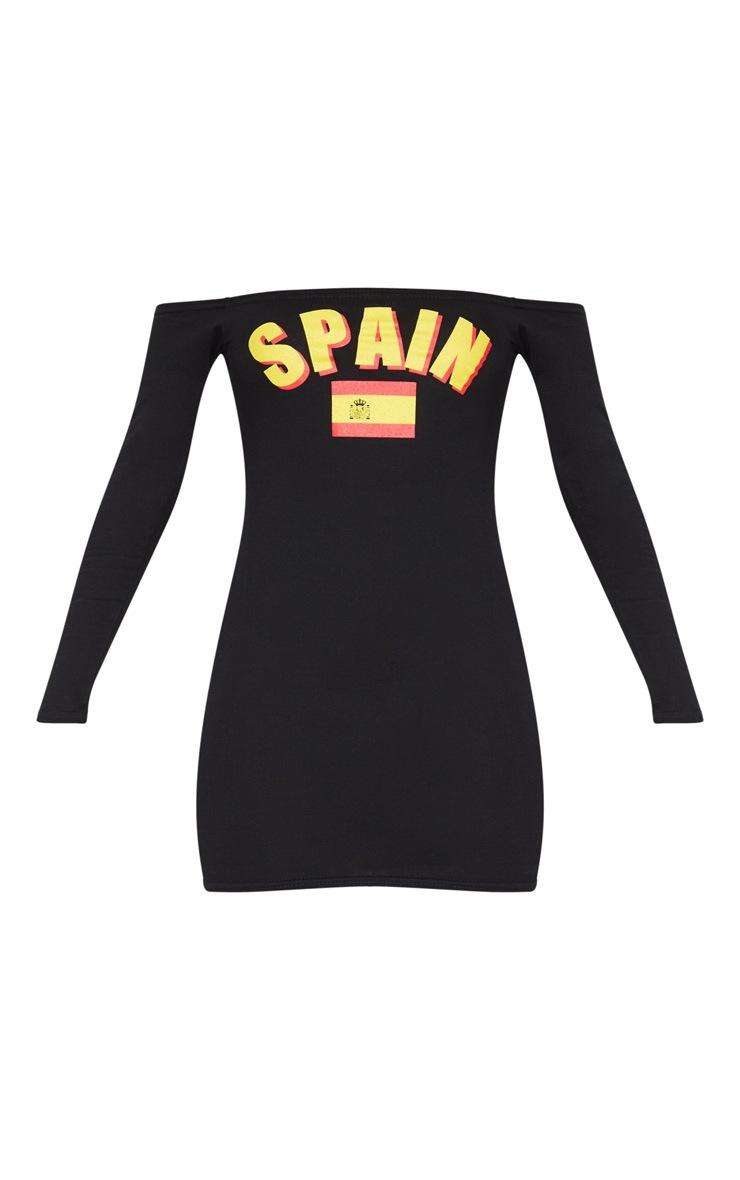 Spain Black Football Bardot Bodycon Dress 3