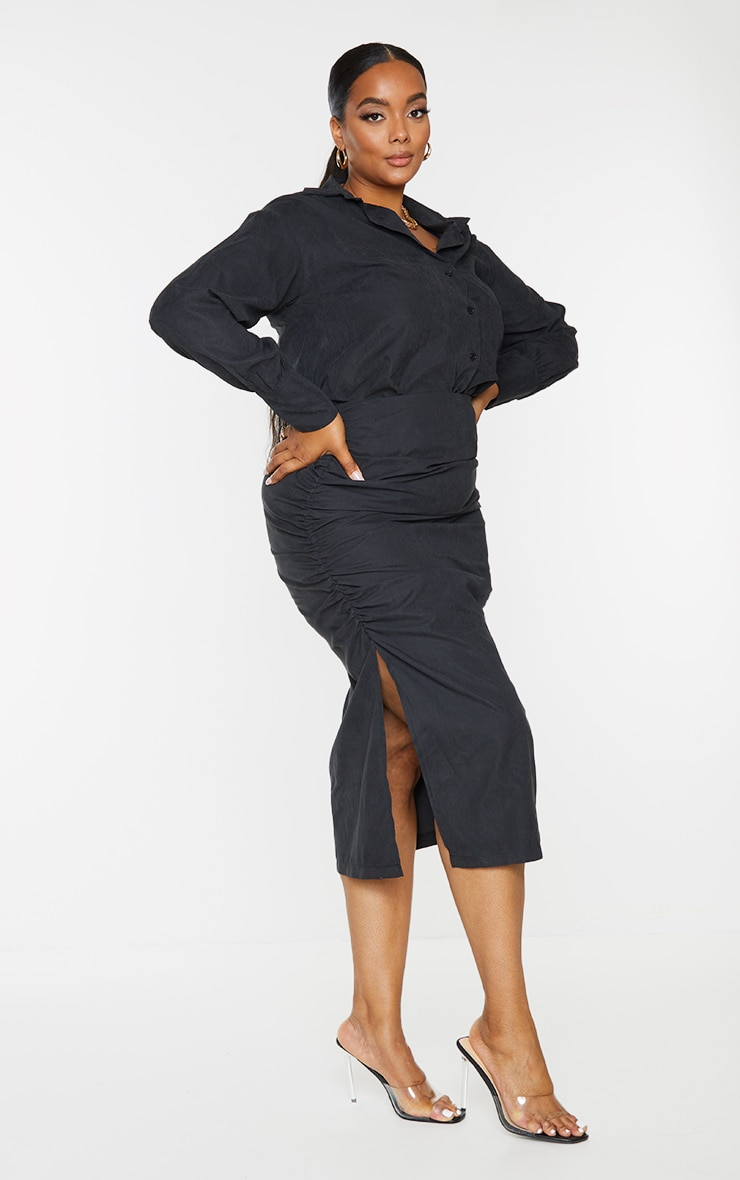 Plus Black Suede Textured Ruched Midi Skirt 1