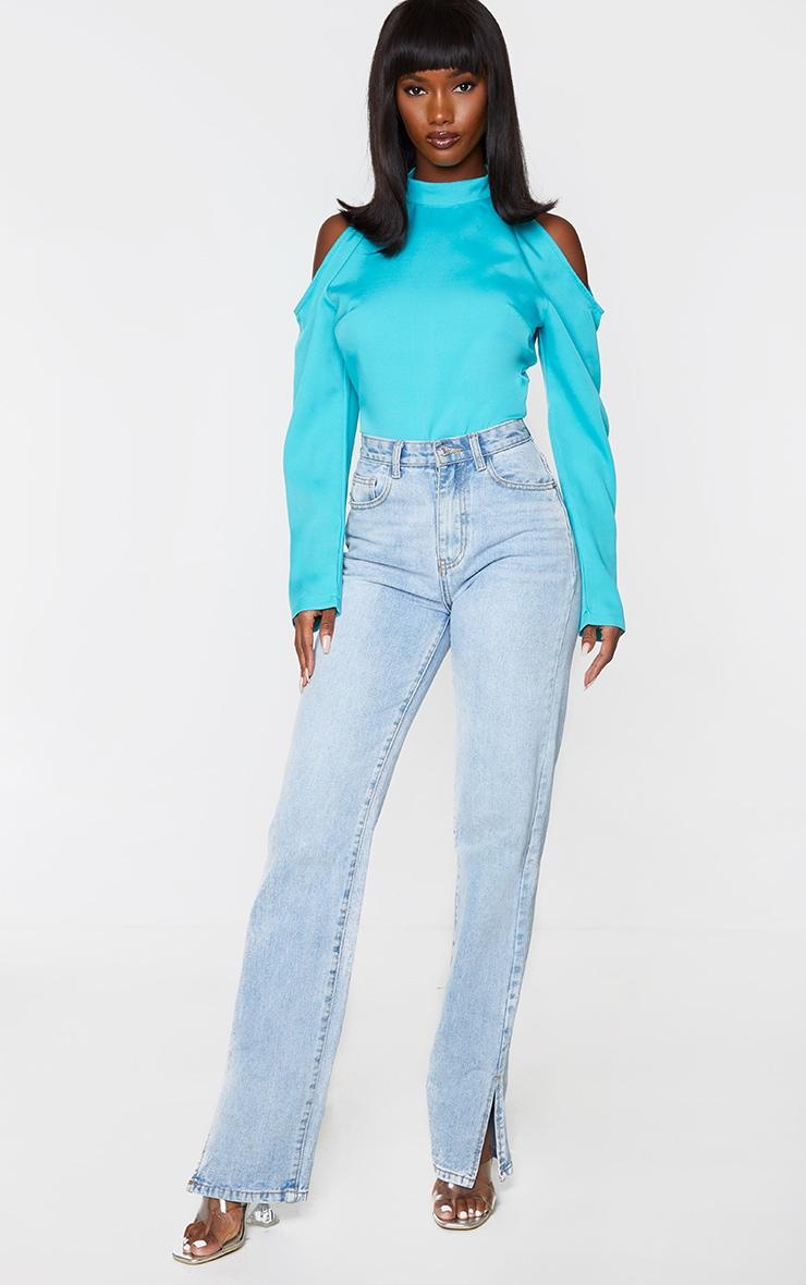 Blue Woven Cold Shoulder High Neck Bodysuit 3