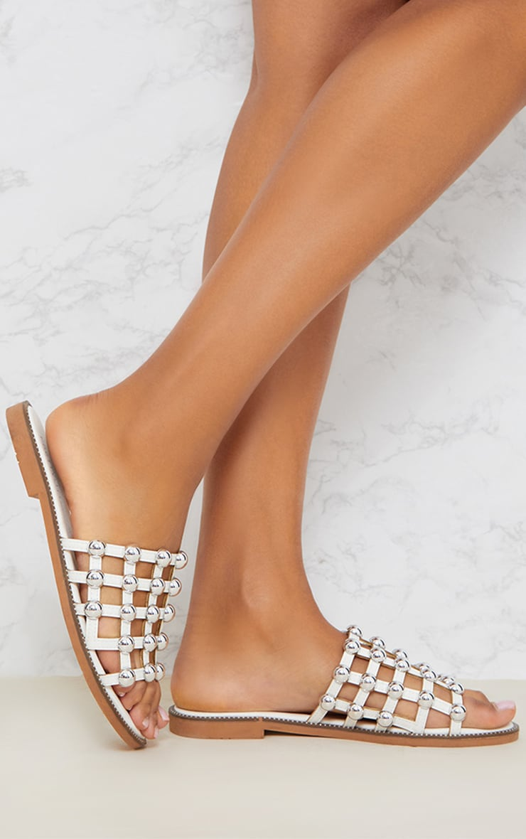 White Dome Studded Mule Sandal 1