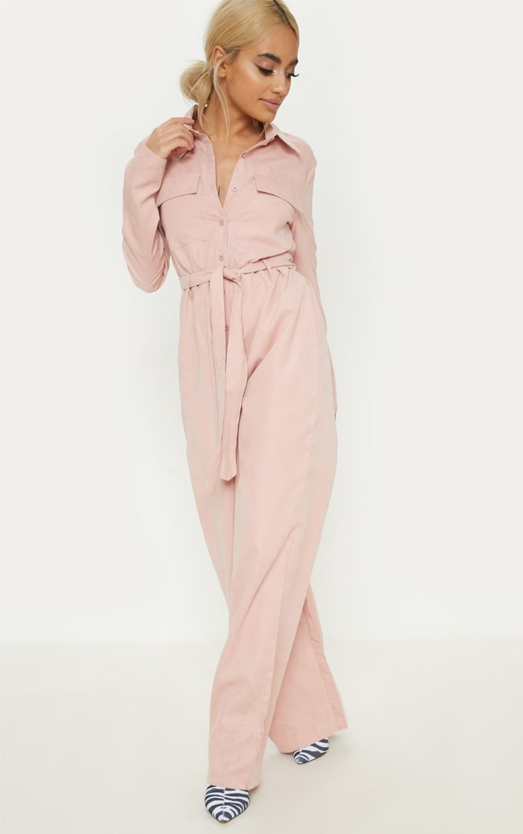 Petite Pink Faux Suede Button Up Jumpsuit 4