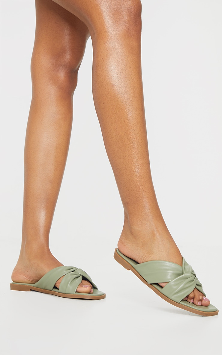 Sage Green PU Knot Detail Flat Mule Sandals 2