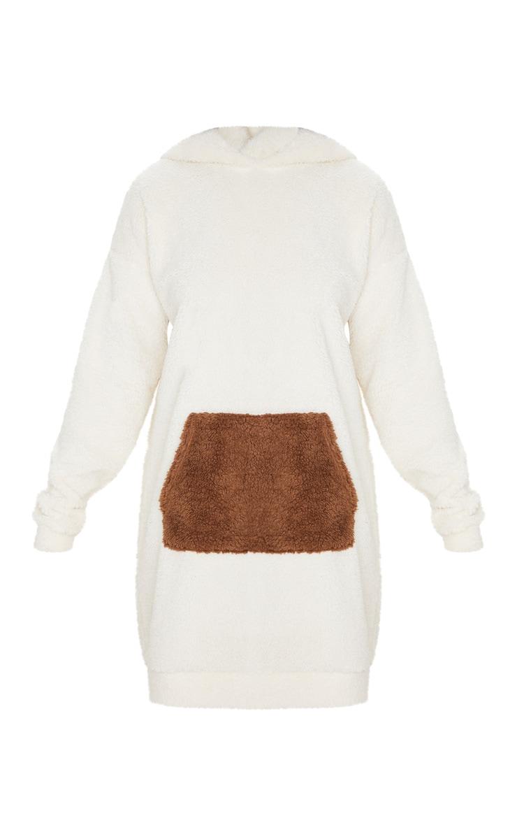 Camel Contrast Pocket Front Borg Hoodie Jumper Dress 3