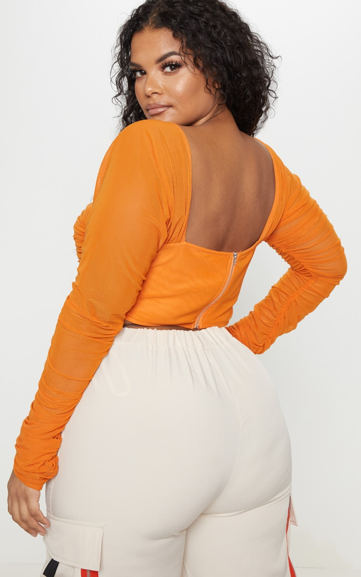 Plus Bright Orange Ruched Lace Up Detail Mesh Crop Top 2