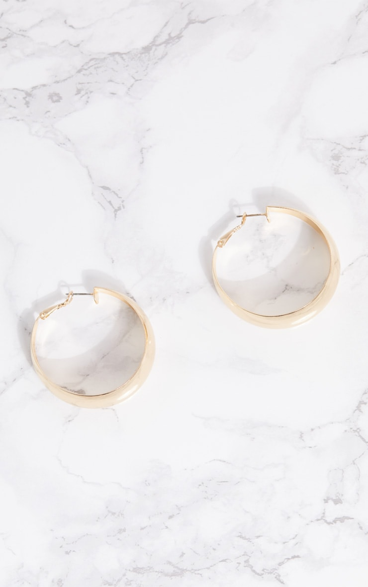 Gold Thick Chunky Hoop Earrings 4