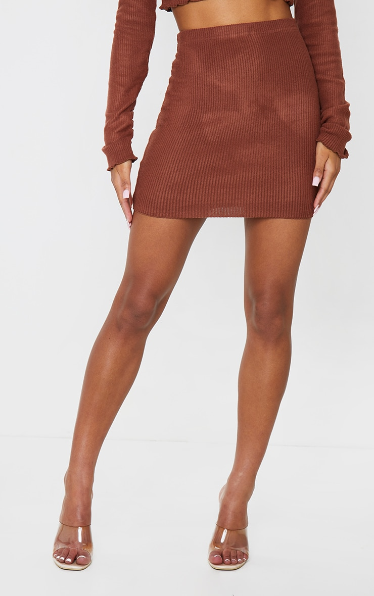 Brown Brushed Rib Frill Hem Mini Skirt 2