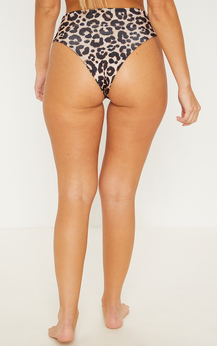 Leopard High Waist Cheeky Bikini Bottom 3